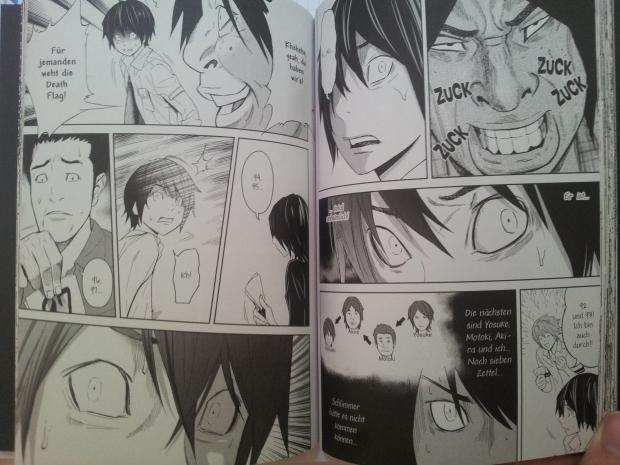 """Ausschnitt aus """"Ousama Game"""" Band 2; Auf den zwei Seiten seht ihr eine schöne Auswahl an Gesichtsausdrücken, wie ich finde. :)"""