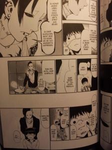 Ausschnitt aus Tokyo Ghoul Band 2; Uta ist dabei Ken einzuschüchtern