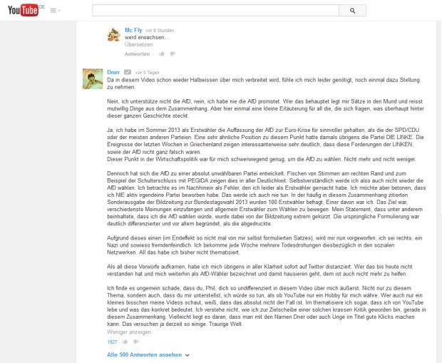 Screenshot von Dners Kommentar unter MrTrashpacks Video zum Video von Jan Böhmermann ... Alter, das wird mir zu meta o.O