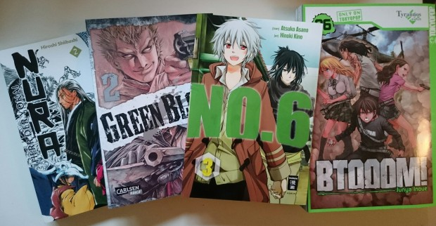 NURA 2, Green Blood 2, NO. 6 3, BTOOOM! 6