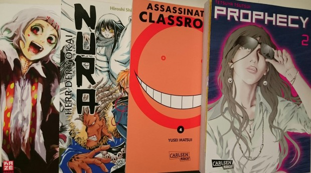 Tokyo Ghoul 6, Nura 3, Assassination Classroom 4, Prophecy 2,