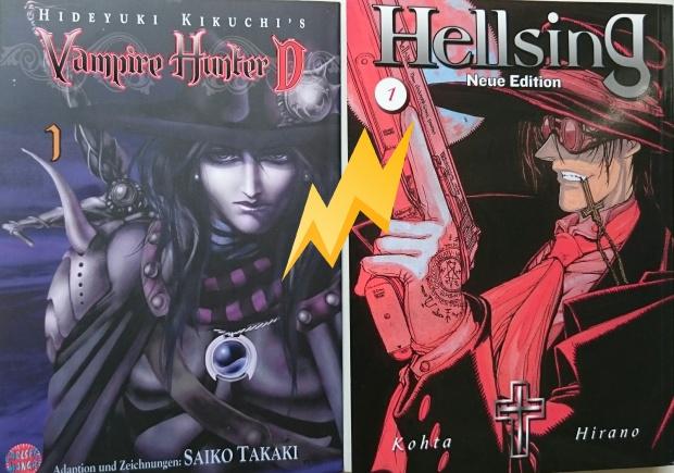 Cover Vampire Hunter D; Zeichnungen: Saiko Takaki; Hellsing; Zeichnungen: Kohta Hirano