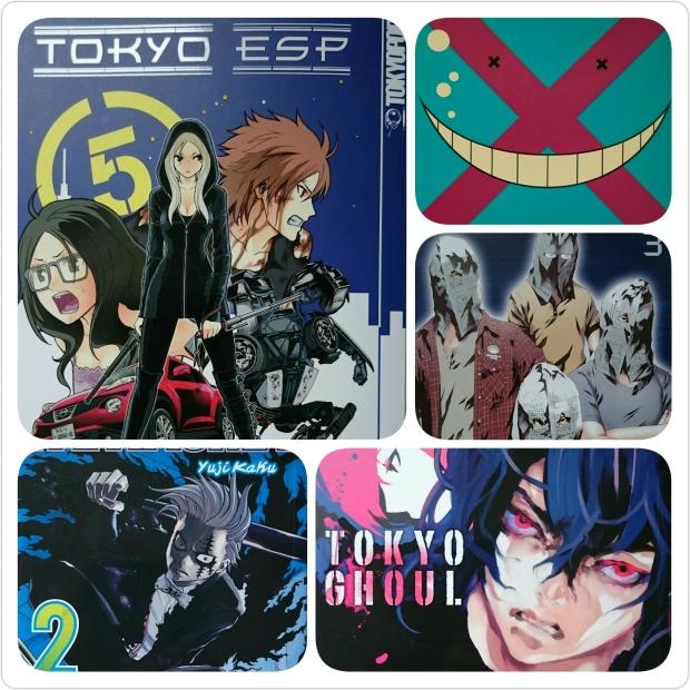 Zu sehen sind die Cover von Tokyo ESP Band 5, Assassination Classroom 6, Prophecy 3, Fantasma 2 und Tokyo Ghoul Band 8.