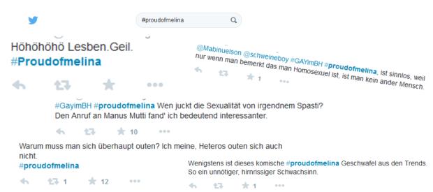 random Twitter-Reaktionen zu #proudofmelina