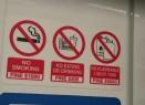 Die Bahn: Alles ist verboten. Rauchen kostet etwa 630 €, Essen und trinken etwas über 300 € und brennbare Flüssigkeiten in der Bahn zu transportieren anscheinend mehr als 3.000 € Strafe o_o