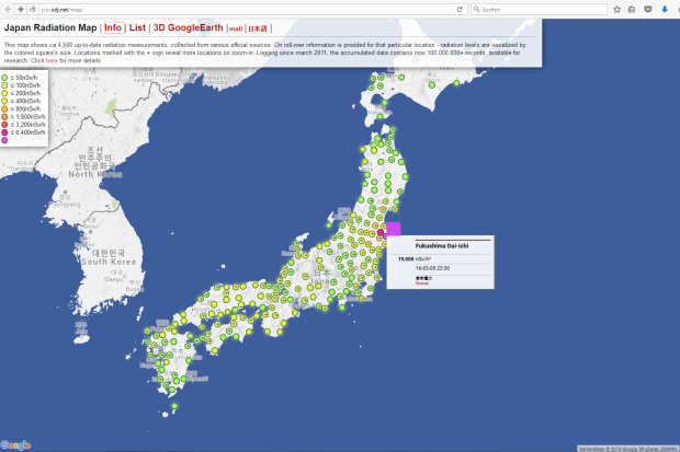 Screenshot der Japan Radiation Map